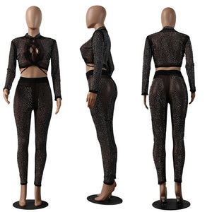 Night Club Wear Party Sexy 2 Piece Set Women Rhinestone Lace Up Sheer Mesh Crop Top Pants Sparkly Matching Women Set Clothes