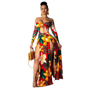 Off Shoulders Long Sleeve Tie Up Cut Out Front Floral Print Maxi Dress Split Top Beach Club Long Dresses 3 Color