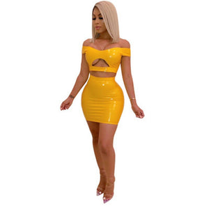 PU Leather Sexy Two Piece Set Women Off Shoulder 2 Piece Crop Top Bodycon Skirt Set Party Summer Matching Sets Club Outfits