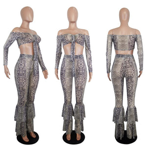 Party Club 2 Piece Set Women Two Piece Outfits Off Shoulder Snake Print Crop Top Flare Pants Set Autumn Sexy Matching Sets