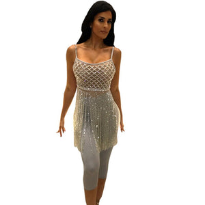 Party Club Wear Sexy 2 Piece Set Women Glitter Sequin Tassel Crop Top Leggings Two Piece Night Out Matching Sets Outfits