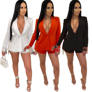 Party Sexy 2 Piece Set Women Tassel Blazer Jacket Top Shorts Set Suit Autumn Festival Matching Sets Women Two Piece Outfits