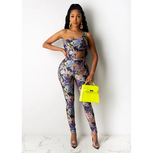 Party Sexy Two Piece Set Women Bodysuit Top Bodycon Pants Trendy Summer Clothes Matching Sets Club Outfits