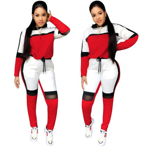 Patchwork Grey Casual Two Piece Set Tracksuit Women Hooded Crop Top Pants Set Sweat Suit Women 2 Piece Tracksuit Sets
