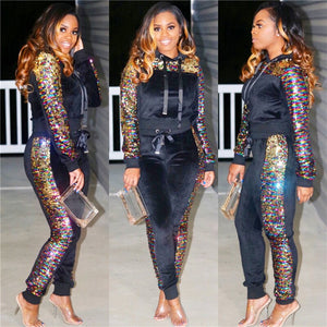 Patchwork Sequin Tracksuit Women 2 Piece Set Hooded Sweatshirt Top Pants Grey Pink Casual Outfits Sweat Suits Two Piece Sets