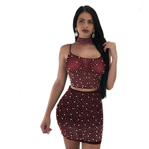 Pearls Beading Mesh Top Skirt Sexy 2 Piece Set Women See Through Lace Up Crop Top Skirt Set Party Clubwear Matching Sets