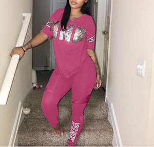 Pink Letter Print Tracksuits Women Two Piece Set Spring Plus Size TShirt Top Pants Set Suits Casual Bodcon 2 Piece Set