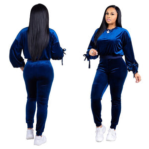 Pink Velvet Tracksuits Women Two Piece Set Long Sleeve Top Pants Suit Autumn Winter Sportswear Casual Sweat Suits Outfits