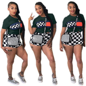 Plaid Print Short Suit Set Summer Two Piece Short Set Women Pant Sets 2 Piece Shorts 8 Color Tube Top Biker Shorts Outfits