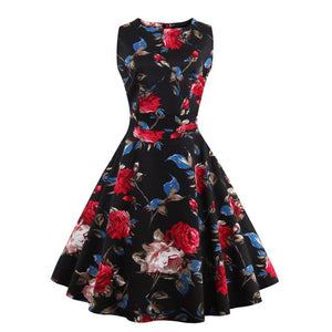 Plus Size 4Xl Women'S Vintage 50S 60S Pin Up Floral Rockabilly Tutu Pinup Sleeveless Bodycon Evening Party Clubwear Formal Dress
