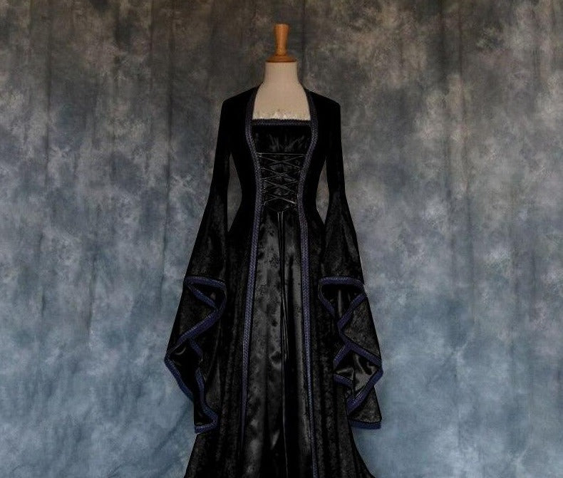 Plus Size Medieval Vintage Celtic Dress Long Sleeve Suqare Collar Hooded Floor Length Renaissance Gothic Dress Cosplay Halloween