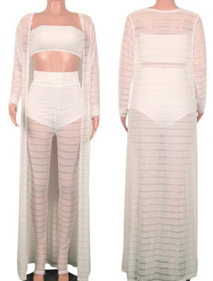 Plus Size S 3Xl 3 Pieces Set Cardigan Crop Top Pants See Through Beach Clothing Three Outfits Tracksuit