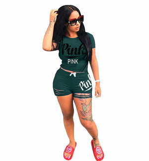 Plus Size Short Set Casual 2 Piece Set Women Pink Letters ONeck Short Sleeve Shorts Pants Suit Bodycon High