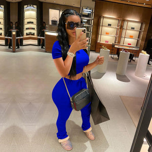 Plus Size Summer Two Piece Set Women Tracksuit Crop Top Stacked Sweat Pants Set Sport Casual Sweat Suits Women Matching Sets