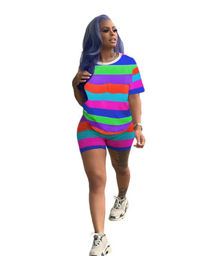Plus Size Tracksuit Two Piece Women Set Summer Short Sleeve T Shirt Top Shorts Sport Suit Striped 2 Piece Casual Shorts Set