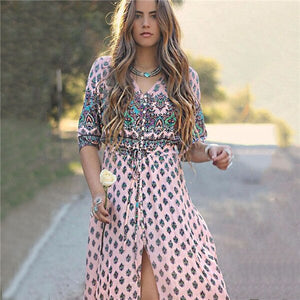 Plus Size 3Xl Bohemian Maxi Dress Women Clothing V Neck Vintage Print Tunic Boho Summer Sundress Split Long Vestidos