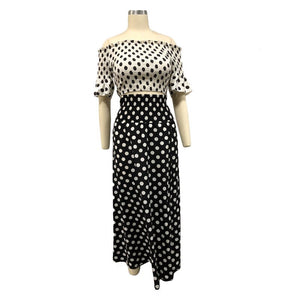 Polka Dot Sexy Two Piece Set Women Summer Clothes Off Shoulder Top Skirt Set Chiffon Two Piece Dress Women Set Festival Clothing