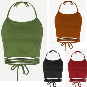Preferential Summer Crop Tops Women Sleeveless Backless Vest Halter Tank Tops A2#