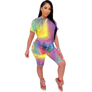 Print Two Piece Set Summer Outfits 2020 2 Piece Tracksuit Top Biker Shorts Sweat Suits Women Lounge Wear Matching Sets