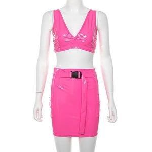 Pu Leather Crop Tops Mini Skirt Neon Color Women Suit Sexy Halter Strap Wrapped Chest Mini Skirts With Belt Clothing