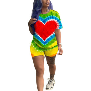 Rainbow Print Two Piece Set Shorts Top Set Women Tracksuits Casual T Shirt Top Shorts Suit Set Summer 2 Piece Outfits 2020