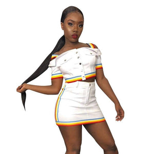 Rainbow Skirt Set Striped Jeans Two Piece Set Women Crop Top Mini Skirts Sets Jeans Tracksuit Denim Outfits Suits