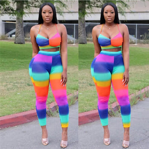 Rainbow Striped Sexy 2 Piece Set Women Tracksuit Summer Clothing Sets Bodycon Two Piece Crop Top Pants Matching Sets Outfits