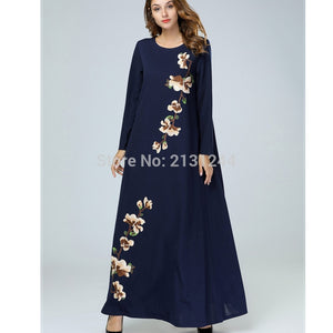 Ramadan Cotton Embroidery Patchwork Maxi Dress Indian Abaya Long Sleeves Dubai Abaya Ropa Arabe Mujer 7429