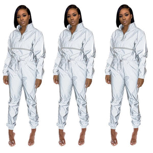 Reflective Tracksuit Women Casual Two Piece Set Top Pants Festival Clothing Club 2 Piece Outfits Matching Sets