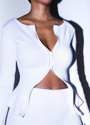 Ribbed Crop Tops Skirts Sets 2019 Autumn Bodycon Sexy Two Pieces Sets Sexy Zipper Full Sleeve White Matching Sets Outfits