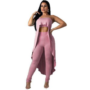 Ribbed Sexy Two Piece Set Summer Knitted 2 Piece Set Women Strapless Long Tops Elastic Waist Pants Set Party Club Outfits