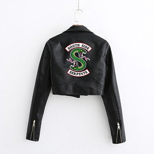 Riverdale Southside Serpents Short Leather Jacket Women Cropped Pu Coats
