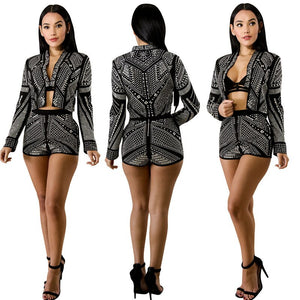 Rivet Short Suit Women Two Piece Sets 2020 Autumn Winter Sparkly Blazer Jacket Shorts Night Party Two Piece Outfits Clubwear
