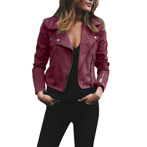 Rivet Zipper Jacket Ladies Casual Retro Bomber Slim Coat Outwear #1102 A#487