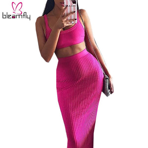 Rose Red 2 Piece Set Women Spaghetti Strap Sleeveless Crop Top Tank High Waist Midi Skirt Two Piece Set Tracksuit