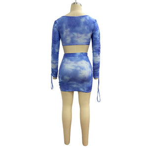 Ruched Tie Dye Drawstring Two Piece Set Summer Women Sexy Crop Top Mini Skirt Outfits Matching Sets Suit