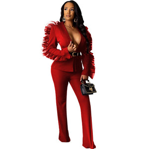 Ruffle Sexy 2 Piece Pants Sets Women Matching Outfits Blazer Top Long Pants Set Autumn Party Club Red Two Piece Set Suit