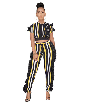 Ruffle Striped Tracksuit Women Two Piece Sets Short Sleeve Crop Top Pants Ladies Streetwear Fashion Leisure Suit Women Set