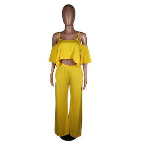 Ruffle Two Piece Set Top Pants Summer Casual Women Set Festival Loose Wide Leg Long Pants Set Sexy 2 Piece Outfits