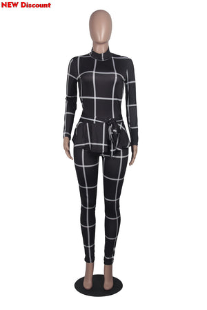 Ruffles Waist Black Body Long Sleeve Plaid Skinny Long Pants Jumpsuits Bodycon Rompers Playsuits Woman Ceremony Suits
