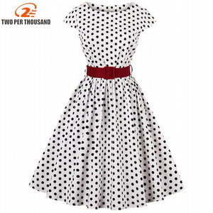 S4Xl Black White Polka Dot Printed Dress Summer Cap Sleeve O Neck Vintage Rockabilly Pin Up Casual Women Dress With Belt