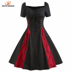 S4Xl Plus Size Dress Summer Women Vintage Black Red Lace Up Dress Ruched Bust Tie Front Gothic Tunic Rockabilly Dresses