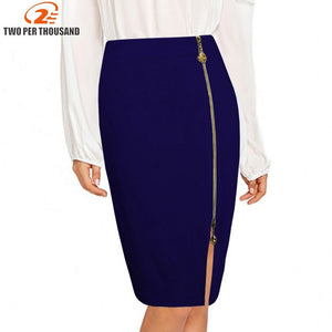 S4Xl Plus Size Multi Color Black Zipper Midi Pencil Skirt Women Fashion High Waist Office Lady Bodycon Skirts Saias