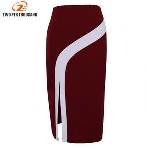S4Xl Plus Size Vintage Ladies Pencil Midi Skirts Women High Waist Stretch Casual Wine Red Black Office Work Wear Saia Skirt