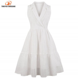 S4Xl Plus Size White Plaid Office Lady Formal Dress Women Vintage Style Party Dresses A Line Summer Dress