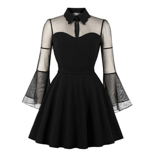 S4Xl Plus Size Women Gothic Mini Dress Autumn Black Mesh Patchwork SeeThrough Flare Sleeve Draped Party Dress