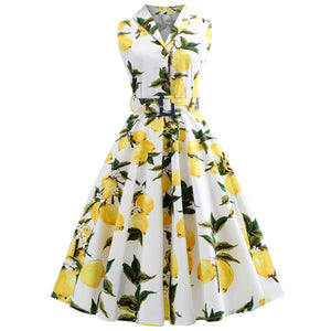 S5Xl Plus Size Lemon Print Summer Vintage Dress Turn Down Belts Button Women Retro Dress Party Vestidos Office Dresses