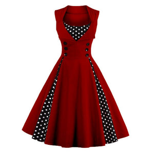 S5Xl Women Robe Pin Up Dress Retro Vintage 50S 60S Rockabilly Dot Swing Summer Dresses Tunic Vestido