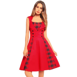S5Xl Women Robe Pin Up Dress Retro Vintage 50S 60S Rockabilly Plaid Swing Summer Dresses Tunic Vestidos