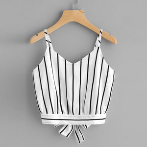 SMLXl Striped Shorts Camisole Women'S Ladies Self Tie Back V Neck Crop Cami Top Blouse A2#